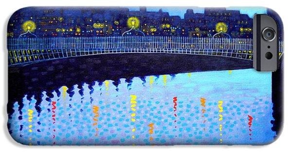 Acrylic Art iPhone Cases - Starry Night In Dublin VI iPhone Case by John  Nolan