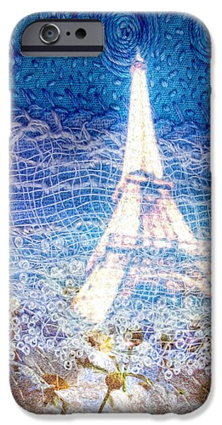 Fabric Mixed Media iPhone Cases - Starry Night in Paris iPhone Case by Mo T