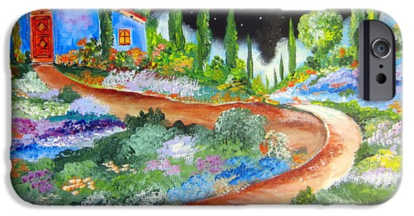 Roberto Paintings iPhone Cases - Starry night in Tuscany and a full moon iPhone Case by Roberto Gagliardi
