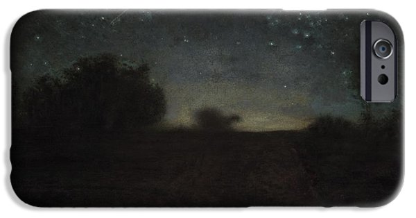 Northern Lights iPhone Cases - Starry Night iPhone Case by Jean-Francois Millet