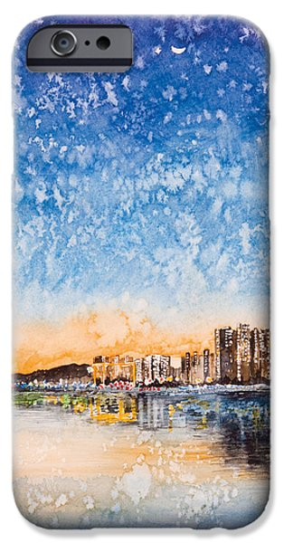 Hong Kong Paintings iPhone Cases - Starry night iPhone Case by Perry Chow