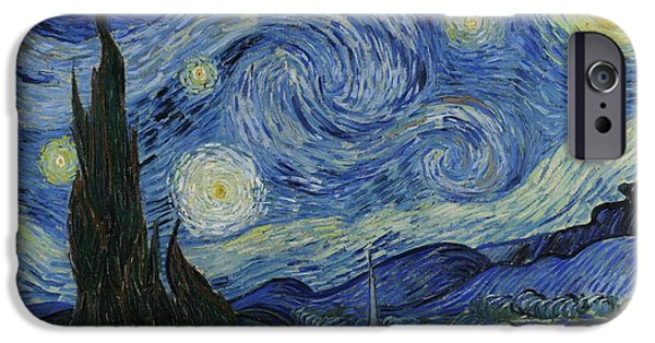 Postkarte iPhone Cases - Starry Night iPhone Case by Masterpieces Of Art