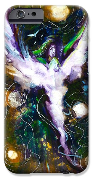 Night Angel Mixed Media iPhone Cases - Starry Starry Angel iPhone Case by Rocky Kelley