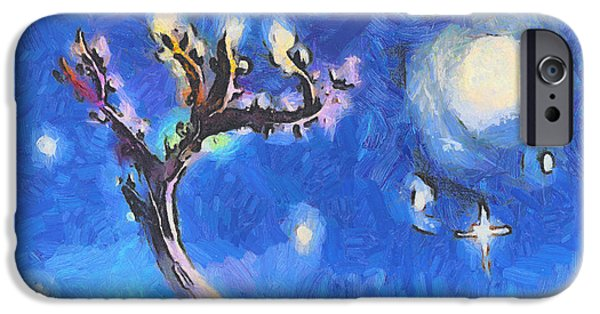 Warm Digital Art iPhone Cases - Starry tree iPhone Case by Pixel  Chimp