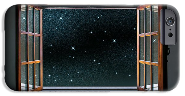 Freedom iPhone Cases - Starry Window iPhone Case by Carlos Caetano