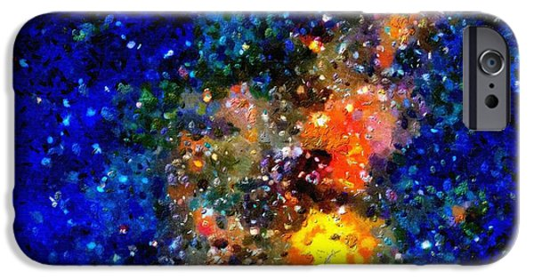 Outer Space Paintings iPhone Cases - Stars and auroras iPhone Case by Magomed Magomedagaev
