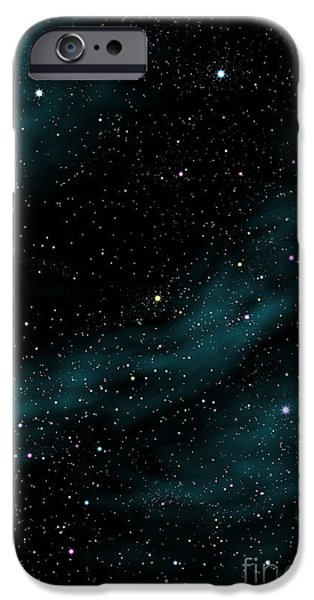 Solar Phenomena iPhone Cases - Stars And Cloud iPhone Case by Atiketta Sangasaeng