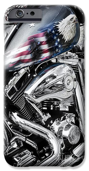 Flag Colors iPhone Cases - Stars and Stripes Harley  iPhone Case by Tim Gainey