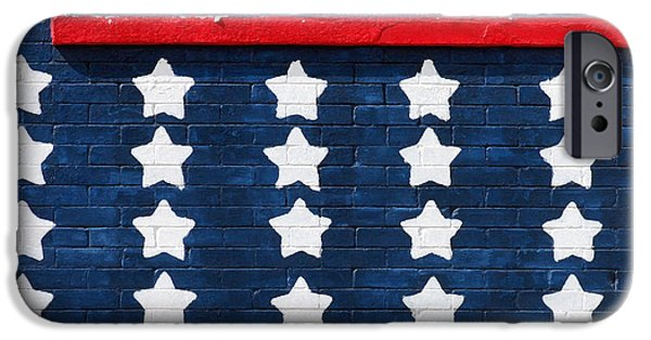 Old Glory iPhone Cases - Stars and Stripes Wall iPhone Case by Art Block Collections