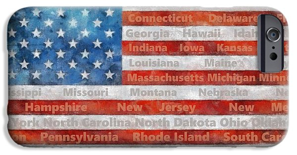 Old Glory iPhone Cases - Stars and Stripes with States iPhone Case by Michelle Calkins