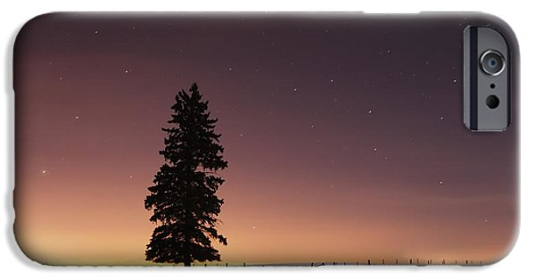 Moonlit Night Photographs iPhone Cases - Stars In The Night Sky With Lone Tree iPhone Case by Susan Dykstra