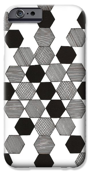 Abstract Collage Drawings iPhone Cases - Stars iPhone Case by MK Square Studio