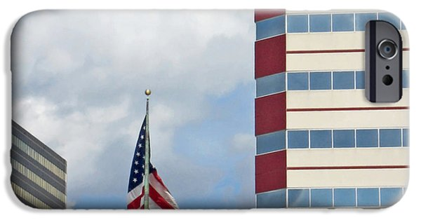 Flag iPhone Cases - Stars Stripes and Buildings iPhone Case by Ann Horn
