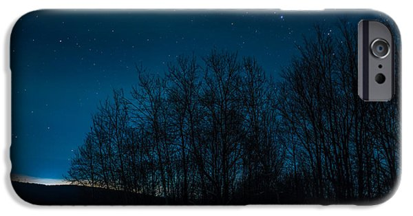 Constellations iPhone Cases - Stars through the forest iPhone Case by Chris Bordeleau