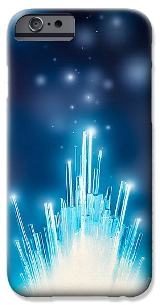 Blue Fireworks iPhone Cases - Stars With Trails Rising From Bright iPhone Case by Panoramic Images