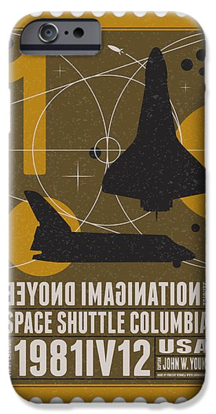 Science Fiction Digital iPhone Cases - Starschips 01-poststamp - Spaceshuttle iPhone Case by Chungkong Art