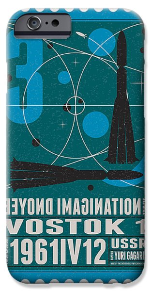 Science Fiction Digital iPhone Cases - Starschips 03-poststamp - Vostok iPhone Case by Chungkong Art