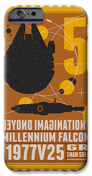 Falcon iPhone Cases - Starschips 05-poststamp -Star Wars iPhone Case by Chungkong Art