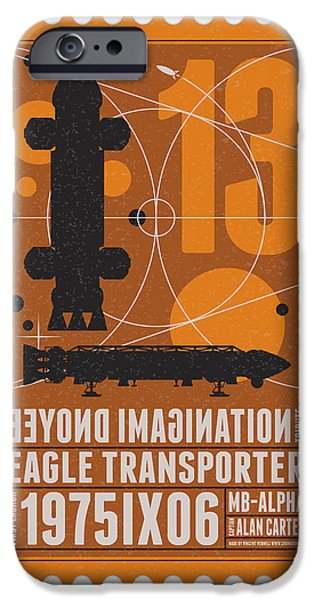 Science Fiction Digital iPhone Cases - Starschips 13-poststamp - Space 1999 iPhone Case by Chungkong Art