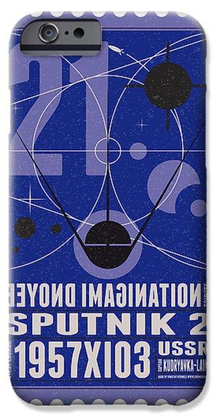 Science Fiction Digital iPhone Cases - Starschips 21- poststamp - Sputnik 2 iPhone Case by Chungkong Art