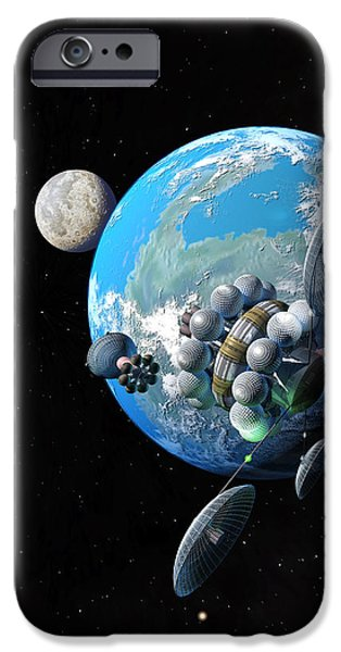 Interstellar Space Paintings iPhone Cases - Starship at Alpha Centauri iPhone Case by Don Dixon