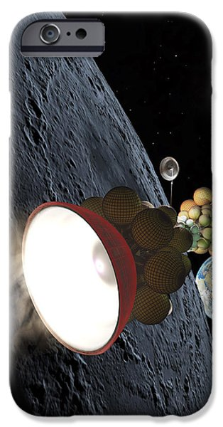 Interstellar Space Paintings iPhone Cases - Starship Departing from Lunar Orbit iPhone Case by Don Dixon