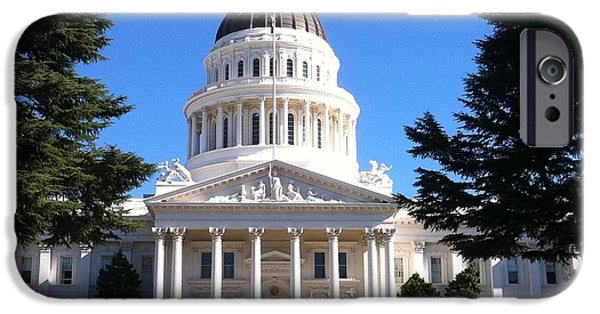 Hall Pyrography iPhone Cases - state capital building sacremento Ca iPhone Case by Sherri Durrell