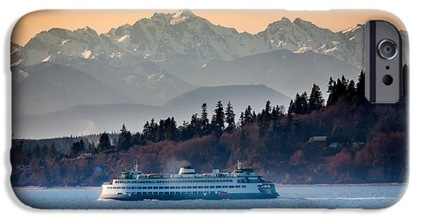Picturesque iPhone Cases - State Ferry and the Olympics iPhone Case by Inge Johnsson