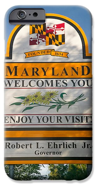 Sign iPhone Cases - State Of Maryland Welcomes You Sign iPhone Case by Panoramic Images