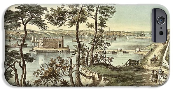River iPhone Cases - Staten Island And The Narrows From Fort Hamilton Litho iPhone Case by N. Currier