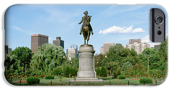 Horseback Riding iPhone Cases - Statue In A Garden, Boston Public iPhone Case by Panoramic Images
