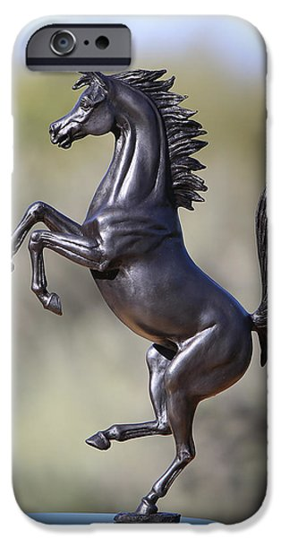 Cars Sculptures iPhone Cases - Prancing Horse Bronze Sculpture iPhone Case by J Anne Butler