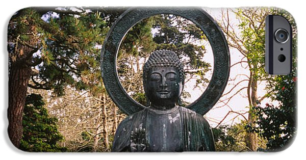 Buddhism iPhone Cases - Statue Of Buddha In A Park, Japanese iPhone Case by Panoramic Images