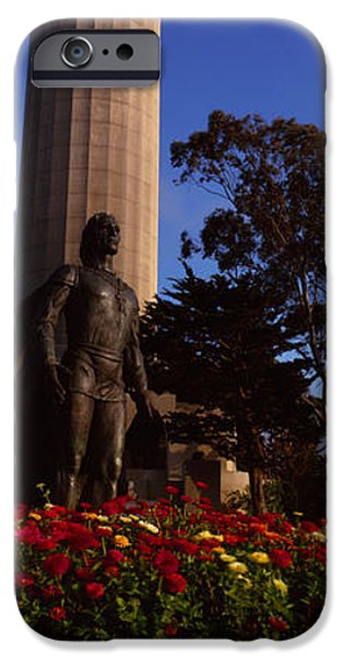 Christopher Columbus iPhone Cases - Statue Of Christopher Columbus In Front iPhone Case by Panoramic Images