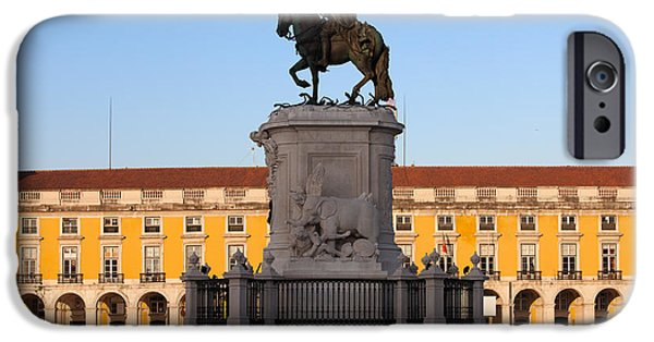 Equestrian Center iPhone Cases - Statue of King Jose I in Lisbon at Sunrise iPhone Case by Artur Bogacki