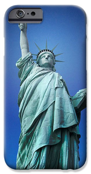 Statues Pyrography iPhone Cases - Statue Of Liberty   iPhone Case by R Steven Diaz