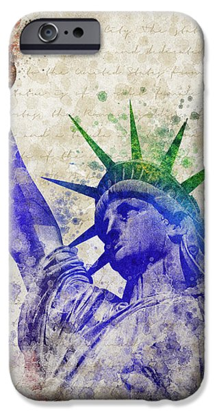 City Scape Mixed Media iPhone Cases - Statue of Liberty iPhone Case by Aged Pixel