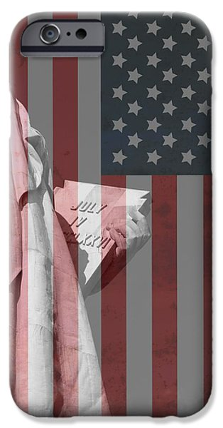 4th July Photographs iPhone Cases - Statue Of Liberty And American Flag iPhone Case by Dan Sproul