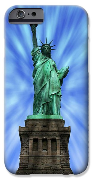 Hudson River iPhone Cases - Statue of Liberty iPhone Case by Anthony Dezenzio