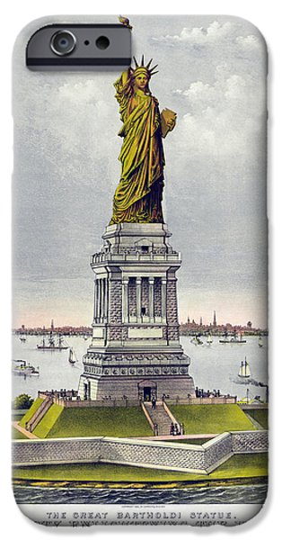 Statue Of Liberty Paintings iPhone Cases - Statue of Liberty iPhone Case by Celestial Images