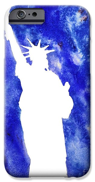 Statue Of Liberty Paintings iPhone Cases - Statue of Liberty Cool Silhouette iPhone Case by Ryan Fox