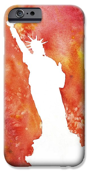 Statue Of Liberty Paintings iPhone Cases - Statue of Liberty Fiery Silhouette iPhone Case by Ryan Fox