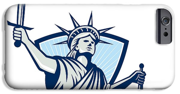 Justices iPhone Cases - Statue of Liberty Holding Scales Justice Sword iPhone Case by Aloysius Patrimonio