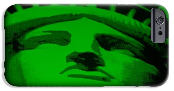 Statue Portrait Mixed Media iPhone Cases - STATUE OF LIBERTY in GREEN iPhone Case by Rob Hans