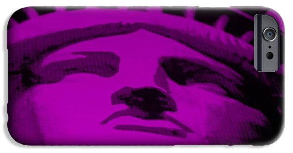 Statue Portrait Mixed Media iPhone Cases - STATUE OF LIBERTY in PURPLE iPhone Case by Rob Hans