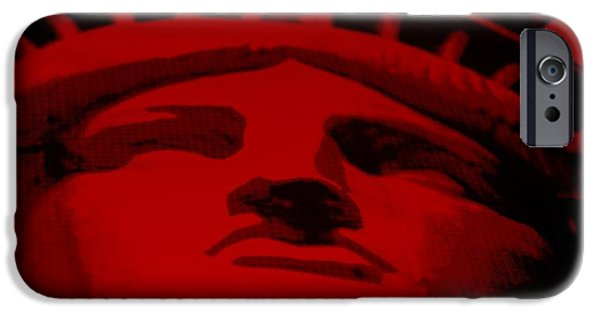 Statue Portrait Mixed Media iPhone Cases - STATUE OF LIBERTY in RED iPhone Case by Rob Hans