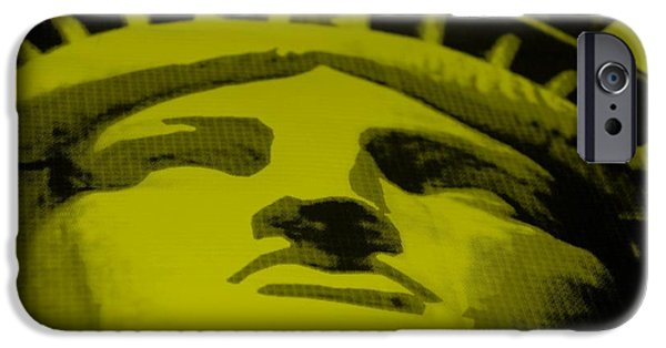Statue Portrait Mixed Media iPhone Cases - STATUE OF LIBERTY in YELLOW iPhone Case by Rob Hans
