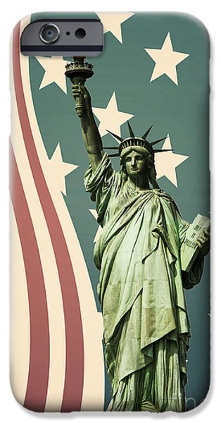 Statue iPhone Cases - Statue of Liberty iPhone Case by Juli Scalzi