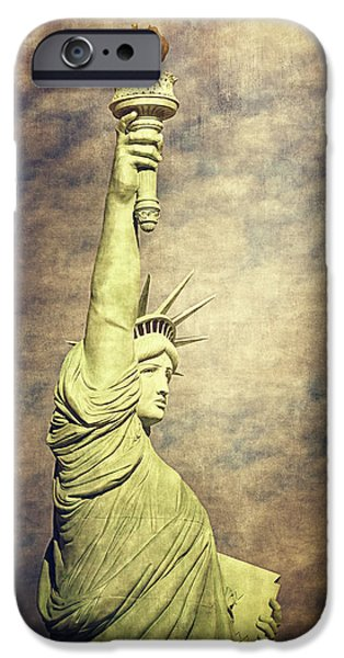 Pleasure Digital Art iPhone Cases - Statue of Liberty iPhone Case by Maria Angelica Maira