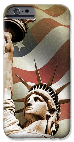 Statue iPhone Cases - Statue of Liberty iPhone Case by Mark Rogan